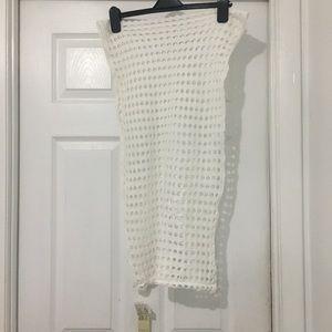 Beautiful white crochet infinity scarf